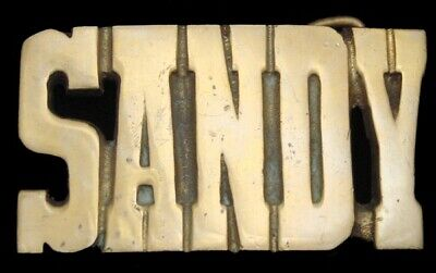 KK08131 *NOS* VINTAGE 1970s CUT-OUT NAME ***SANDY*** SOLID BRASS BUCKLE