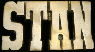 KJ08155 *NOS* VINTAGE 1970s CUT-OUT NAME ***STAN*** SOLID BRASS BUCKLE