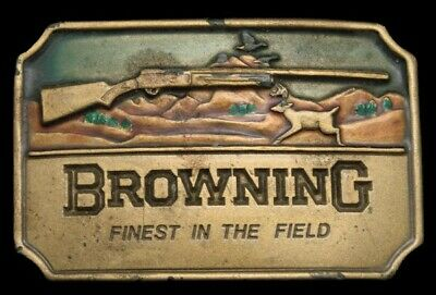 LB02124 VINTAGE 1970s ***BROWNING*** SHOTGUN FIREARMS FINEST IN THE FIELD BUCKLE