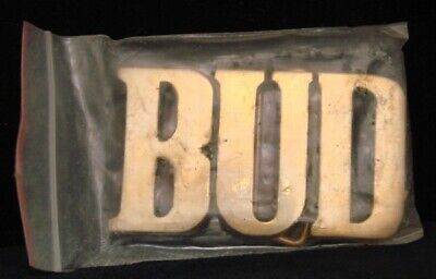LH18177 *NOS* VINTAGE 1970s/80s CUT-OUT NAME ***BUD*** SOLID BRASS BUCKLE