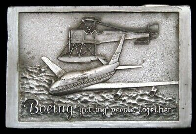 KJ02125 VINTAGE 1970s **BOEING AIRCRAFT** GETTING PEOPLE TOGETHER PEWTER BUCKLE