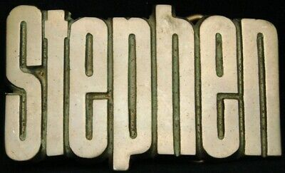KJ08157 *NOS* VINTAGE 1970s CUT-OUT NAME ***STEPHEN*** SOLID BRASS BUCKLE
