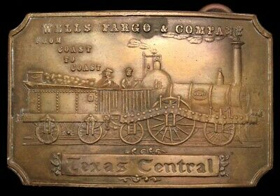 Lk26177 Great *Wells Fargo & Co - Texas Central* Brass Fantasy Collector Buckle