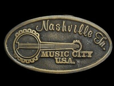 LK11127 VINTAGE 1970s **NASHVILLE TN - MUSIC CITY U.S.A.** COUNTRY MUSIC BUCKLE