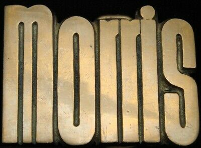 KJ08129 *NOS* VINTAGE 1970s CUT-OUT NAME ***MORRIS*** SOLID BRASS BUCKLE