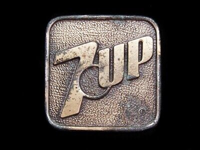 LL01161 COOL VINTAGE 1970s GREAT AMERICAN **7-UP** THE UN-COLA SODA BELT BUCKLE