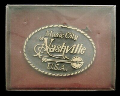 Ll10102 *Nos* Vintage ***Nashville - Music City Usa*** Banjo Solid Bronze Buckle