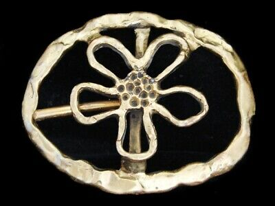 LK19169 VERY COOL VINTAGE 1970s CUT-OUT ***FLOWER*** SOLID BRASS FASHION BUCKLE