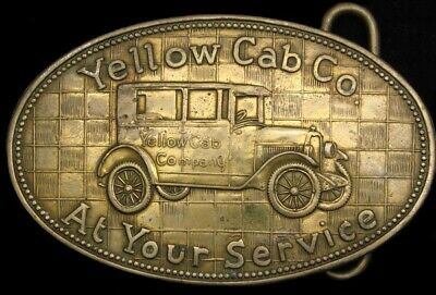 Lk26179 Vintage **Yellow Cab Company** Taxi Solid Brass Fantasy Collector Buckle