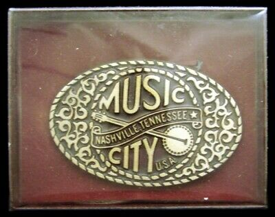 LL10103 *NOS* 1980s ***MUSIC CITY USA*** NASHVILLE, TN BANJO SOLID BRONZE BUCKLE