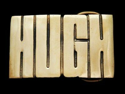 KC19162 *NOS* VINTAGE 1970s CUT-OUT NAME ***HUGH*** SOLID BRASS BELT BUCKLE
