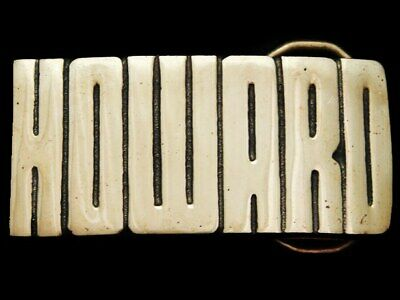 KC19169 *NOS* VINTAGE 1970s CUT-OUT NAME ***HOWARD*** SOLID BRASS BELT BUCKLE