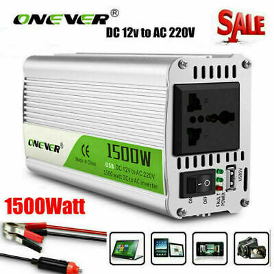 1500W Car Sine Modified Wave Power Inverter DC 12V to AC 220V Charger Converter