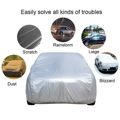 1 Layer Heavy Duty Waterproof Car Cover Cotton Lining Scratch Proof Large Size S