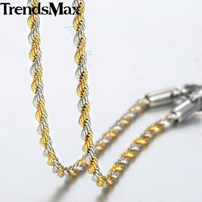 2mm Twisted Rope Necklace  Silver Gold Filled Womens Mens Chain Unisex