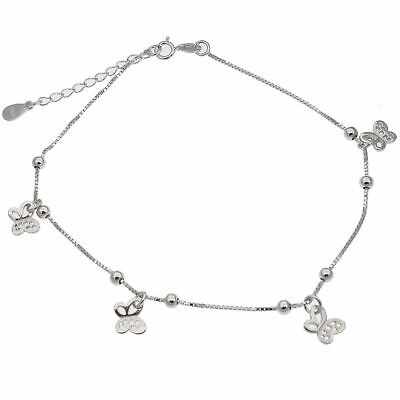 Fine Jewelry Fine Anklets 925 Sterling Silver Crystal Butterfly Anklet 24cm Total Kpan19