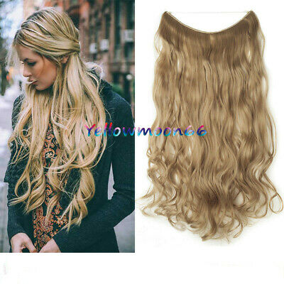 Thick Hidden Halos Secret Wire In Wavy Real Human Hair Extensions HairPiece 100g