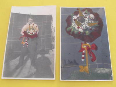 2 Hand Tinted Scottish Bagpipes 21st Birthday Cake RPPC Postcards