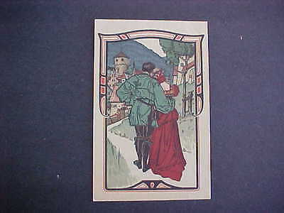 German made old Postcard Couple Castle background
