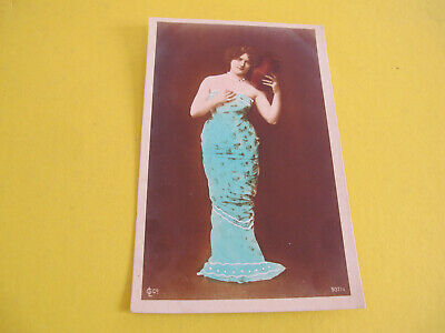 Glamour Lady European hand coloured Photograph Postcard