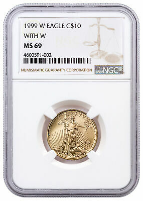 1999 W $10 Gold Eagle With W Unfinished Proof Dies Mint Error NGC MS69 SKU21111