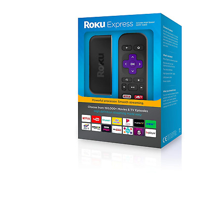 NEW Roku Express Streaming Smart Media Tv Player - Black Box NO MONTHLY FEES
