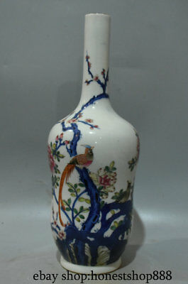 "13"" Marked Chinese Famille Rose Porcelain Plum Blossom Bird Magpie Vase Bottle"