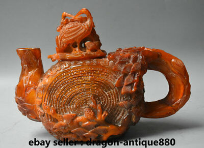 """10"""" Qianlong Marked Old Chinese Ox Horn Dynasty Pine Crane Birds Handle Teapot"""
