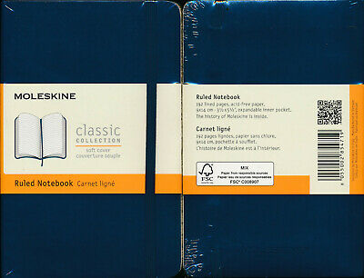 Moleskine soft cover Ruled Notebook Sapphire Blue Pocket SMALL NEW