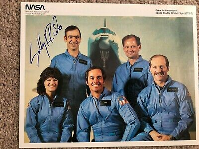 Sally Ride Nasa Space Shuttle Astronaut Autograph Signed Litho Photo Sts 7 Crew