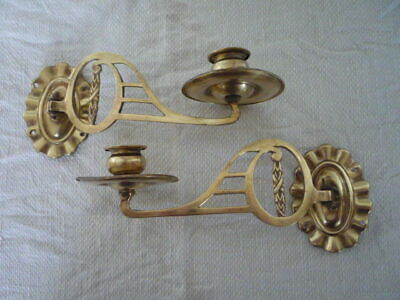 * 2 Decorative Simple Brass Candle Candlestick Holders Wall Sconce Piano Pair *