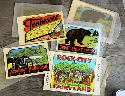 Lot Of 5 Vintage Window Decal Sticker Tennesee Rock City lookout Mt Smokies N P