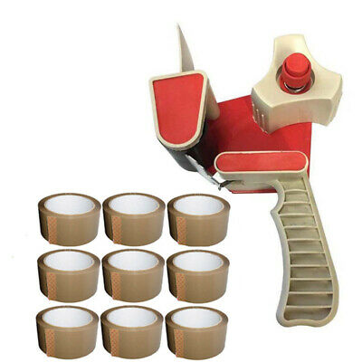 "Box Packing Parcel Tape Gun Dispenser 2"" + 9 Rolls Of 48Mm Brown Packing Tape"
