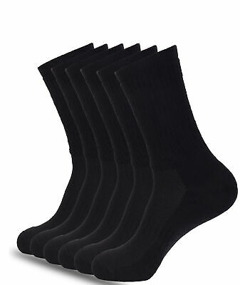 6 Pairs Mens Crew Socks Black Sport Performance Cotton Cushioned Large Size
