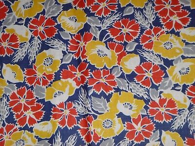 """Vtg 30s 40s Cotton Fabric Blue w/ Yellow Red Flowers Floral 36"""" x 3.66 yds"""