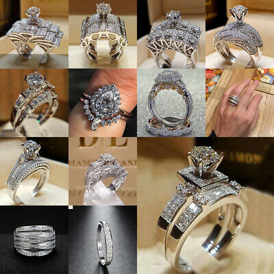 Women 925 Sterling Silver Plated Diamond Rings Wedding Engagement Ring Size Gift 3 69 Picclick Uk