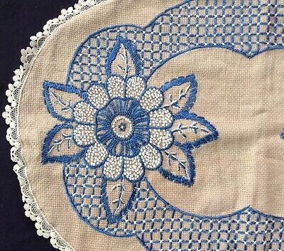 "antique pillow cover tan monks cloth w blue embroidery, fancy edge, 24x16"" oval"