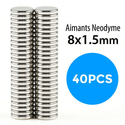 Lot x40 Aimant Neodyme Neodium Disque Rond Fort Puissant Super Magnet 8mm*1,5mm