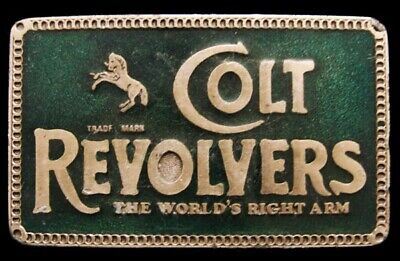 LB02149 GREAT VINTAGE 1970s ***COLT REVOLVERS*** THE WORLDS RIGHT ARM GUN BUCKLE