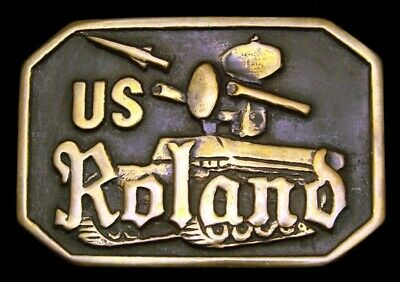 Lj14110 *Nos* Vintage 1980 ***Us Roland*** Surface-To-Air Missiles Brass Buckle