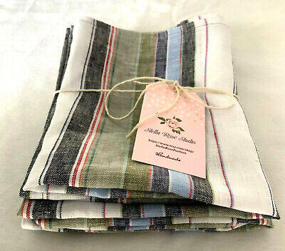 """NEW 100% LINEN Striped KITCHEN TOWELS SET of 2 HANDMADE 25.5"""" X 15.5"""" MULTICOLOR"""