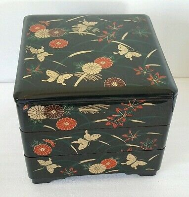 """Food container Japanese Red Lacquer 3 Tiers Stack Box /""""JUBAKO/"""" Hanazukushi"""