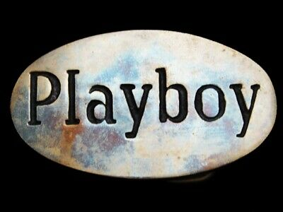 MA29150 VERY COOL VINTAGE 1970s **PLAYBOY** SOLID BRASS OVAL BELT BUCKLE