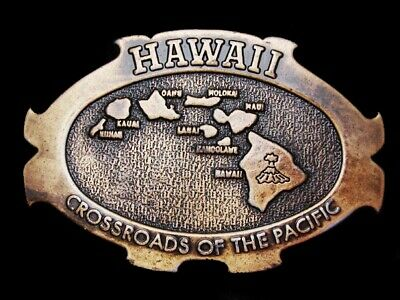 LL15158 *NOS* VINTAGE 1970s **HAWAII** CROSSROADS OF THE PACIFIC MAP BELT BUCKLE