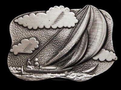 Mf23151 *Nos* Vintage 1979 **Sailboat On The Ocean** Pewter Belt Buckle