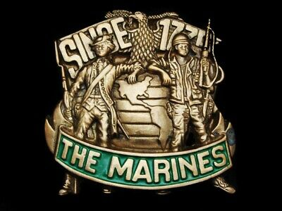 Mf15103 Vintage 1982 **The Marines Since 1775** Solid Brass Military Belt Buckle