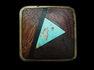 MF27142 VINTAGE 1970s **INLAID WOOD STONE** ABSTRACT ART SOLID BRASS BUCKLE