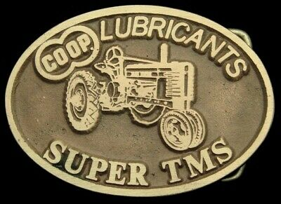 MH18135 *NOS* VINTAGE 1970s ***CO-OP LUBRICANTS*** SUPER TMS SOLID BRASS BUCKLE