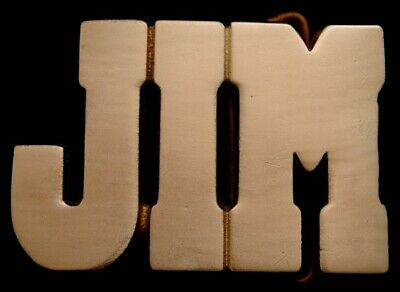 MH02117 **NOS** VINTAGE 1970s/80s CUT-OUT NAME ***JIM*** SOLID BRASS BUCKLE