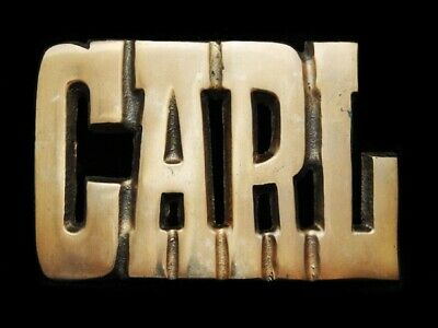 LL21161 *NOS* VINTAGE 1970s CUT-OUT NAME *CARL* SOLID BRASS BELT BUCKLE